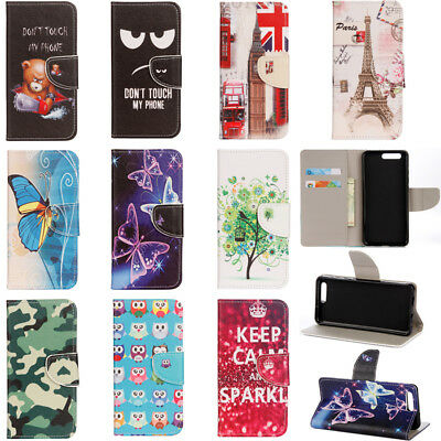 For Huawei Honor 7A 8 9 10/ Play Flip Painted Leather Case Magnetic Wallet Cover