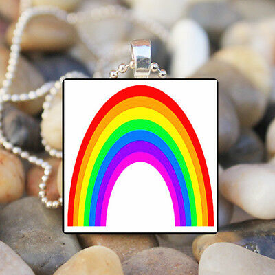 NEW Gay Pride Rainbow Flag Vintage Necklace Pendant Jewelry Charm Gift #FX-262