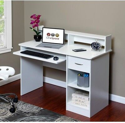 White Computer Desk Table Pull Out Keyboard Tray Cabinet Home Office