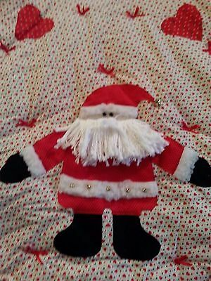"""Santa Christmas tree skirt heavy quilted filled + lined 48"""" dia round vtg"""