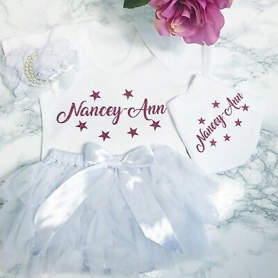 Newborn Baby Girls Outfit, Bib, Pants, Headband Personalised Coming Home Outfit