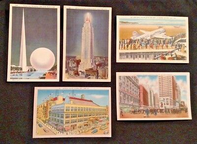Lot of 5 Vintage NYC Linen POSTCARDS. 1930's / 1940's NEW YORK CITY Landmarks