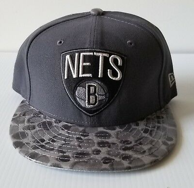 934dc989a8f New Era Brooklyn New York Nets Gray 59Fifty Flat Bill 5950 Fitted Cap NBA  Hat