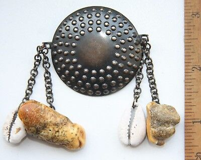 Antique Vintage Ethnic Brass Brooch Pin Fibula With Amber And Cowry Pendants