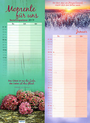 Calendar Planner Family Planners beziehungsplaner Moments for UNS 2019 dates