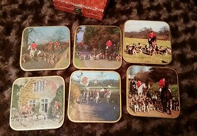 Win-El-Ware Vintage Set 6 Coasters Fox Hunt Scenes Equestrian Horse British Box