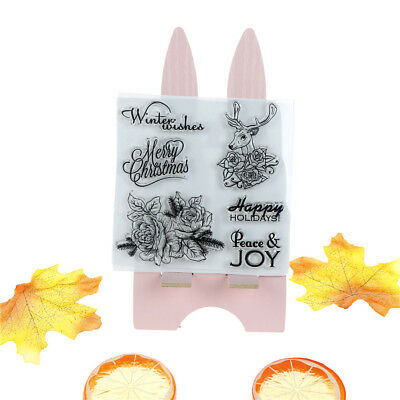 Christmas deer  Silicone Clear Rubber Stamp Cling Diary Decor DIY Lovely IL
