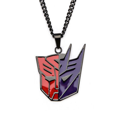 Transformers Split Symbol Black PVD Plated Pendant Stainless Steel Necklace