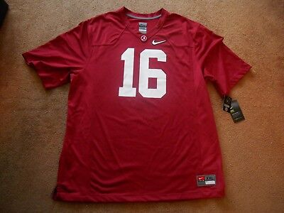 sale retailer f5ea0 33c1d AUTHENTIC NIKE #16 Alabama Crimson Tide STITCH Game Football Jersey Men 2XL  NEW!