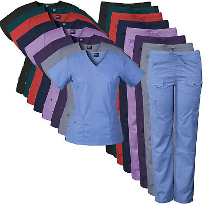 Medgear Women's Stretch Medical Scrubs Set with Silver Snap & Pleat Detail