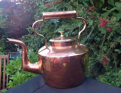 Stunning Antique Victorian Copper And Brass Kettle  Large 12 Pint