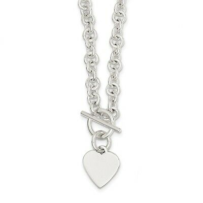 Sterling Silver 18in Engraveable Heart Disc on Fancy Link Toggle Necklace