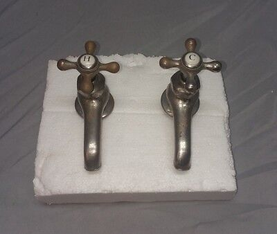 Pair Antique Nickel Brass Separate Hot Cold Sink Faucet Standard Vtg 141 -18F
