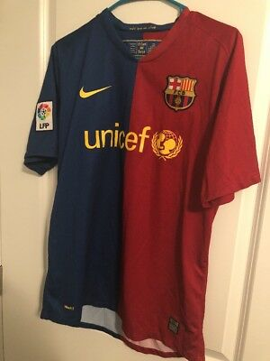 0a95de34980 FC Barcelona nike jersey shirt M medium kit unicef red blue lfp 2008   2009