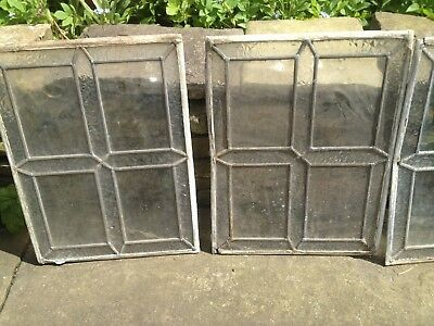 8 Original Vintage  Leaded Lights  Clear Glass Window Panels