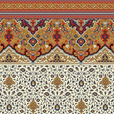 Dollhouse Wallpaper - Victorian Persian Fringe Frieze and Wall