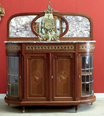 Antique French Louis XVI Sideboard Server Hall Cabinet Mahogany Marble c1920