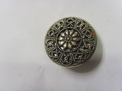 1800s antique collector museum metal filigree mirror back Sunflower button 49179