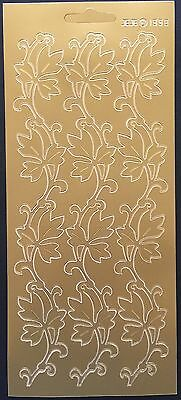 Home Deco Borders Leaves Peel Off Stickers Card Making Scrapbooking Gold