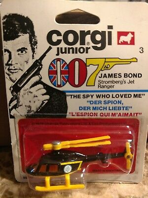 1976 Corgi Junior James Bond Helicopter Stomberg's Jet Ranger Spy Who Loved Me