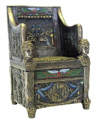 "2.75"" Egyptian Throne Jewelry Box Sculpture Ancient Egypt God Statue Decor"