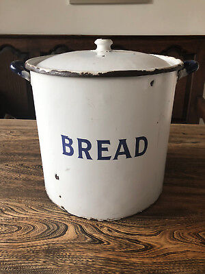 Vintage Very Large Used White and Blue Enamel Bread Tin