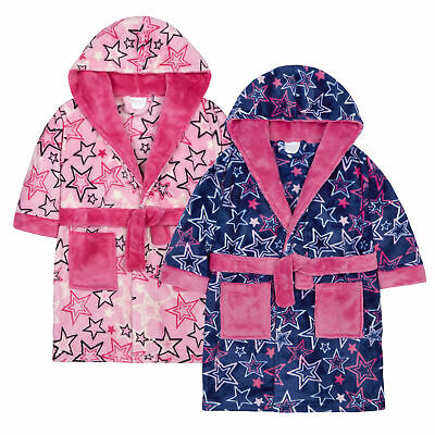 Infant Girls Star Print Dressing Gown Robe Soft Fleece Pockets Hooded Fluffy