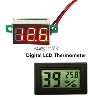 LED Voltage Red Meter Digital LCD Temperature Humidity Thermometer Hygrometer UK