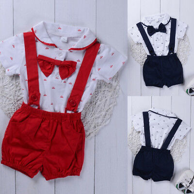 Toddler Infant Baby Boys Short Sleeve Romper Tops +Suspender Pants Outfits 0-24M
