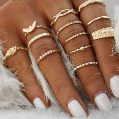 12 Pcs/Set Midi Finger Rings Set Knuckle Ring Fashion Jewelry Women Gift