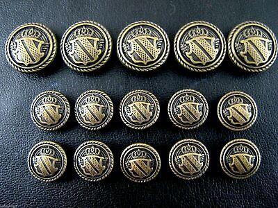 8pc 22mm Gold Studded Coat Arms Bronze Shield Metal Military Blazer Button 2142