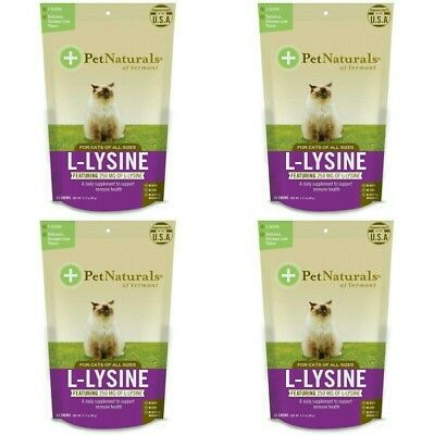 4 PACK Pet Naturals of Vermont, L-Lysine, Chicken Liver Flavor, 250 mg, 60 Chews
