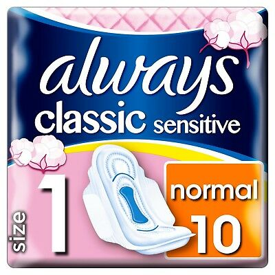 ** 2 X Always Sensitive Classic Normal Sanitary Pads With Wings 20 Towels New **