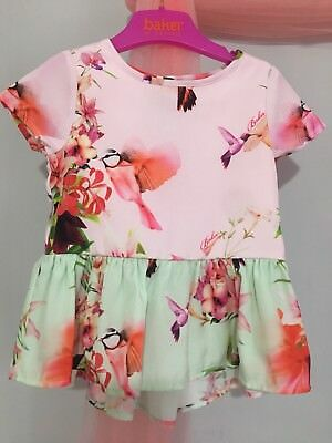 New Baby Girls Designer Ted Baker Floral Hummingbird Peplum Top 12-18m🌺