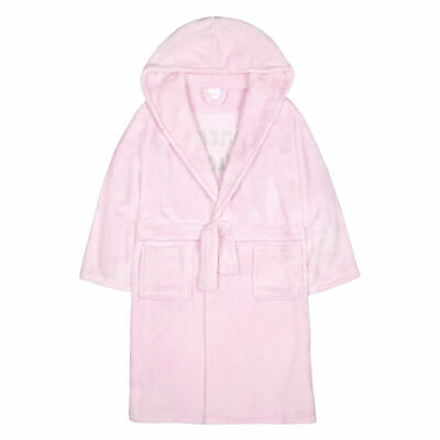 Girls Children's Sequin Princess Plush Fleece Dressing Gown Robe Soft Hooded