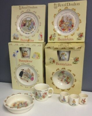 ROYAL DOULTON BUNNYKINS 13 Pc Lot China Children Baby Christening Teacups SR