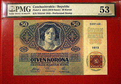 Czechoslovakia 50 Korun Pick 3 1919 issue MS 53 About Uncirculated