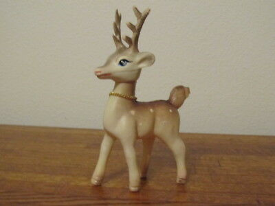 "Vintage Soft Plastic Deer Reindeer Movable Head Bell Collar 6""  x 3""  Hong Kong"
