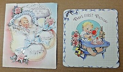 """""""BABY'S FIRST BIRTHDAY"""" Congratulation, 2 Used Vintage Greeting Cards, 1940s/50s"""