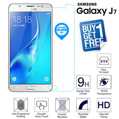 2x For Samsung Galaxy J7 2015 Genuine Tempered Glass Screen Protector Film J700F