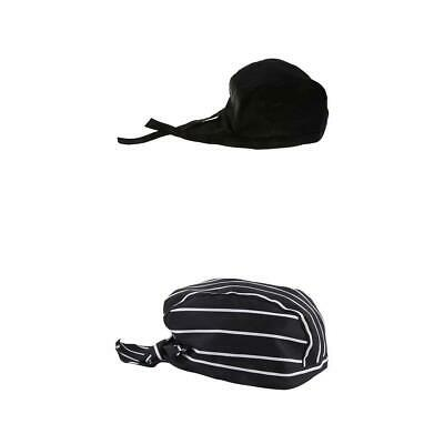 2 PCS Pirate Style Chef Cap Hat Skull Cap Hat, Tie Back Catering Cook Baker