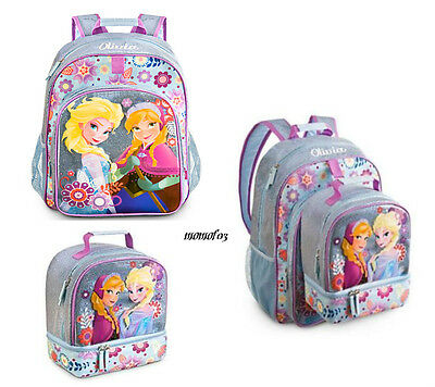 c05376af76b0 NWT Disney Store Frozen Anna Elsa Backpack With Lunch Tote Lunch Box Pail  Kids