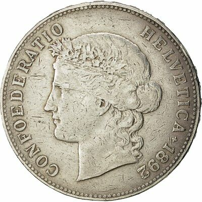[#482646] Coin, Switzerland, 5 Francs, 1892, Bern, EF(40-45), Silver, KM:34