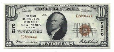 1929 United States of America $10 National Currency Note NY, NY 2370 E289044A