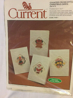 vintage current counted cross stitch christmas cards set of 4 new - Current Christmas Cards