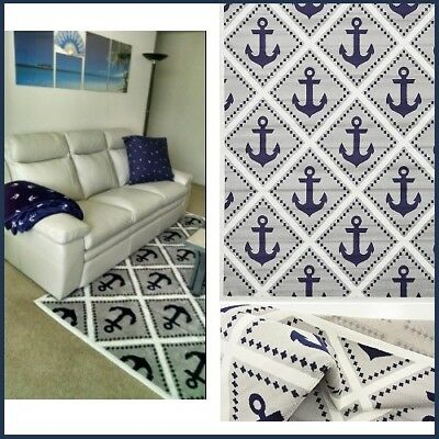 Nautical Anchor Area Rug Navy Blue Gray Ivory Coastal Beach Indoor Rugs 8' x 10'