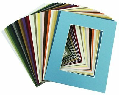 Pack of 20, MIXED COLORS 8x10 Picture Mats Matting with White Core Bevel Cut for