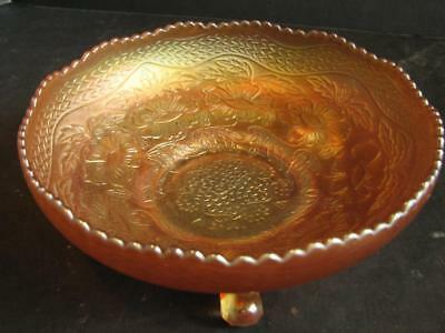 """Vintage Fenton Carnival Glass Two Flowers Footed Bowl Marigold 9"""""""
