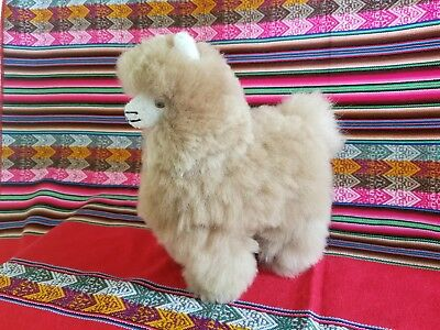 ONE RARE Soft 100% Baby ALPACA Fur Stuffed Llama (9 x 7 inches)