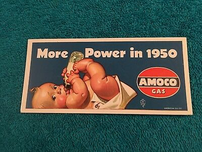 """AMOCO GAS AMERICAN MOTOR OIL COMPANY BABY Ink Blotter 1950's APPROX 5.5"""" X 2.5"""""""